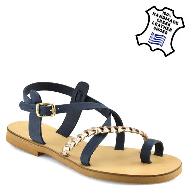 γυναικεια καλοκαιρινα παπουτσια-ΠEΔΙΛΟ ΔΕΡΜΑΤΙΝΟ (ΜΠΛΕ-ΧΑΛΚΟ) 5dbec51d182